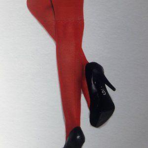 Sheer Back Seam Thigh Hi Red